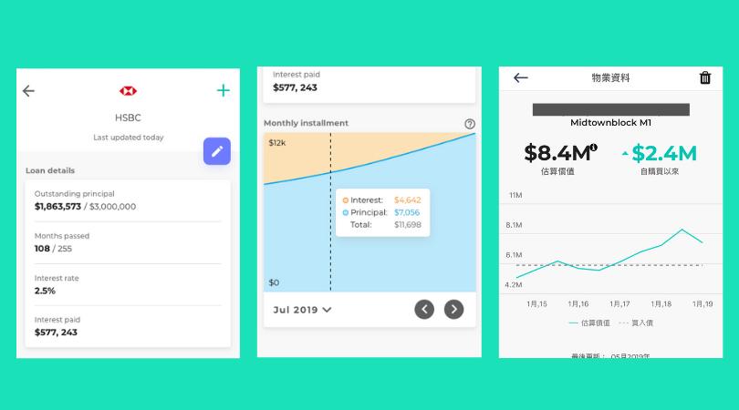 利用Planto app連結按揭戶口,掌握本金及利息的每月還款進度;Planto亦提供物業估價功能,幫助業主掌握樓價升跌走勢
